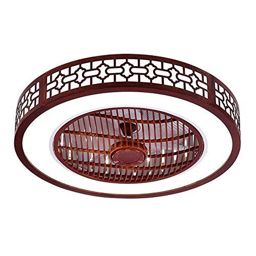 Ventilatore da soffitto con illuminazione, in quercia, con luce a LED, velocità del vento regolabile, dimmerabile, con telecomando, lampada da soffitto a LED, per camera da letto, soggiorno