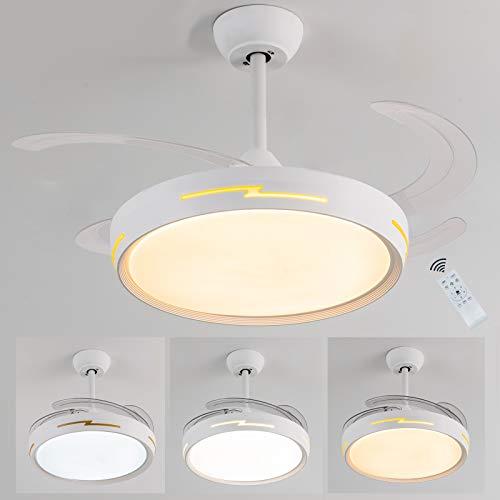 Ventilatore da soffitto,Ventilatore da soffitto con luce e telecomando,Dimmerabile ventilatori a soffitto reversibile silenzioso Timer Ventilatore soffitto Per Camera da Letto Soggiorno cucina,54W