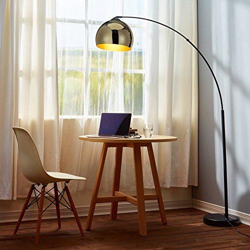 Versanora VN-L00012-EU Arquer Piantana Arc lampada di pavimento paralume piede nero, 30cm x 110cm x 170cm