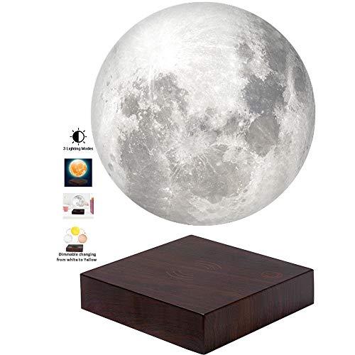 VGAzer 3D Stampa lampade a levitazione magnetica a luce lunare per la casa, decorazioni per ufficio, regalo creativo da 6 pollici (bianco)