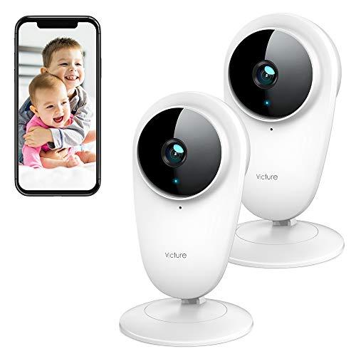 Victure 2 PCS 1080P Telecamera 2.4G WiFi Interno, Telecamera IP di Sorveglianza, Visione Notturna e rilevazione di movimento con Audio Bidirezionale