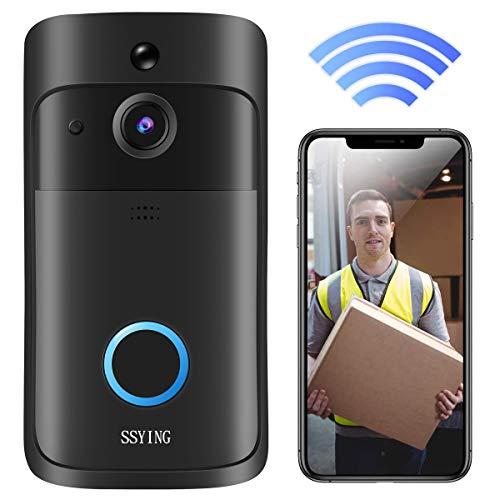 Videocitofono WiFi, Campanello Senza Fili da Esterno HD IP66 Impermeabile Campanello Wireless Video Visione Notturna e App di Promemoria di Rilevamento del Movimento PIR per iOS, Android