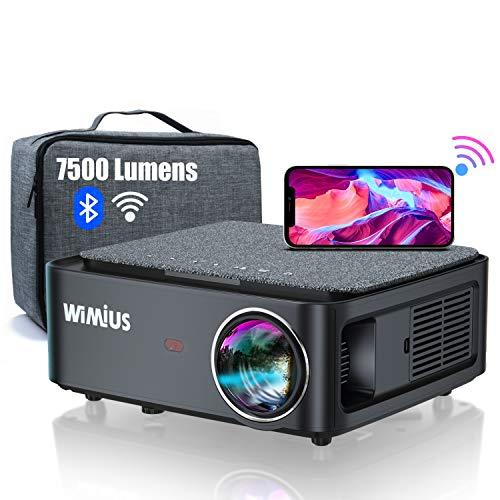 Videoproiettore WiFi Bluetooth,7500 Lumen Proiettore Full HD 1080P Supporto 4K 4D Correzione Trapezoidale Zoom Funzione Proiettore WiFi Home Cinema per PPT, iOS, Android (Borsa per proiettore Inclusa)