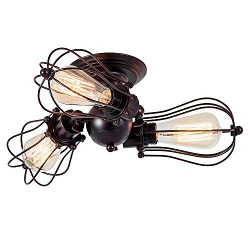 Vintage Plafoniera Industriale Regolabile Socket Metal Wire Cage Semi-Flush Mount Rustico (senza lampadina) (con 3 luci) (colore Ruggine)