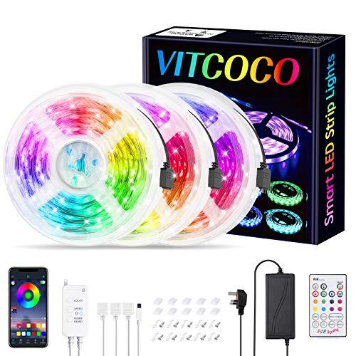 VITCOCO Striscia LED Bleutooth, Striscia LED Musica 15M 5050 RGB Controllata da Bluetooth+Tasti Telecomando+Interruttore, Luminosità Regolabile Nastri Led Retroilluminazione per Decorazione