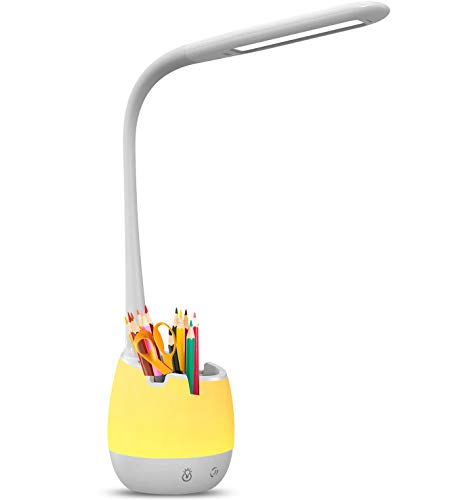 vitutech Lampada da scrivania a LED per bambini, 4 in 1, con supporto per cellulare e portapenna controllo touch 3 livelli di luminosità dimmerabile e 7 colori luce notturna per casa, ufficio e studio