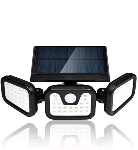 Viugreum Luce Solare LED Esterno 50W, Risparmio Energetico Faretto Solare da Esterno, 74 LED Lampade Solari Sensore di Movimento IP67 Impermeabile 360° Regolabile Faretti Solare per Giardino Backyards