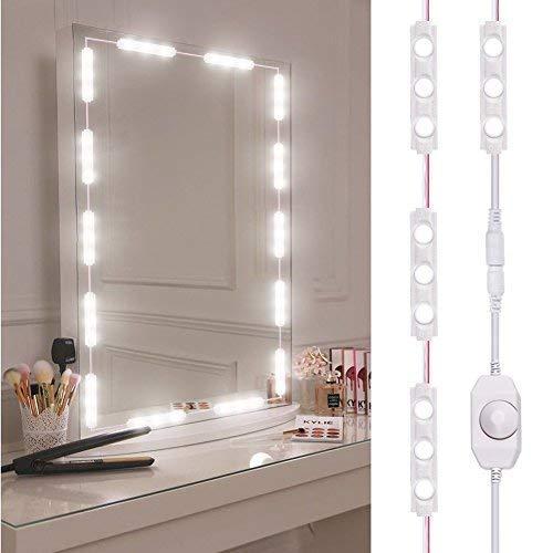 Viugreum Luci da Specchio Dimmabili LED, 60 Luci per Make Up, 1200LM Bianco Freddo 6000K Trattamento Anti-Umidita'Kit Luci da Camerino con Dimmer