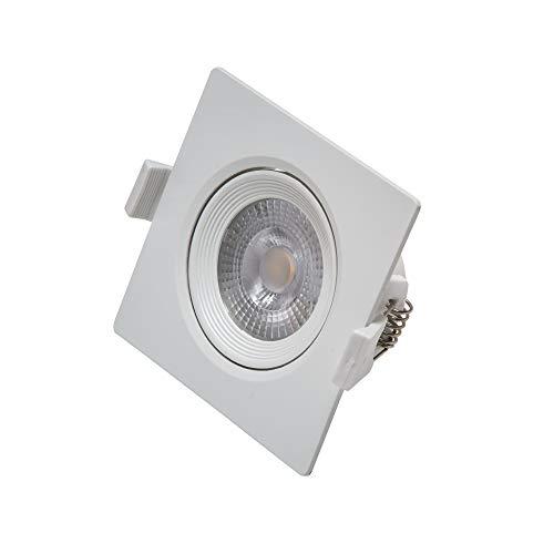 Vivida - Faretto Led Ad Incasso, 7W, Quadrato, Colore Bianco, Luce Calda, 3000K