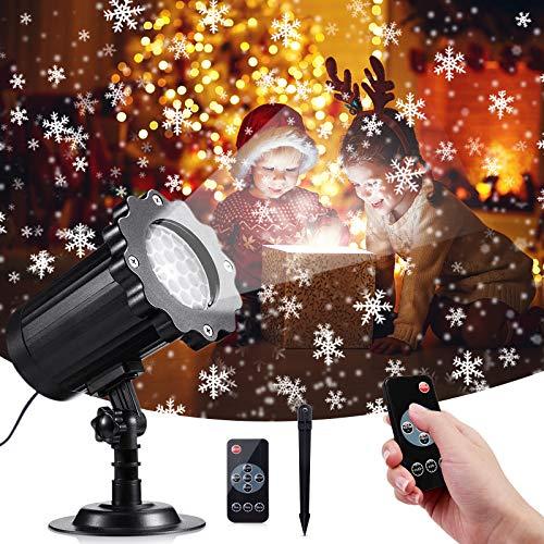 VOKSUN Luci del Proiettore di Neve di Natale, Proiettore Luci Natale Interno e Esterno Decorativa Impermeabile IP65 con 4 Modalità e Telecomando Temporizzazione 2/4/6 ore per Festa Giardino Compleanno