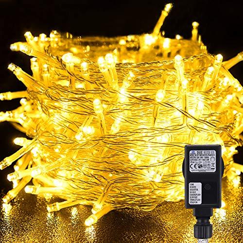 VOKSUN Stringa Luci LED, 25 Metri/82 Piedi 200 LED Catene Luminose IP44 Impermeabile con 8 Modalità di Illuminazione, Decorativa Da Interni e Esterni per Giardino Natale Halloween Festa Bianco Caldo