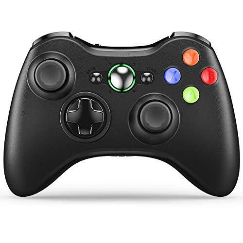 VOYEE Xbox 360 Controller Wireless Controller per Xbox 360 con joystick aggiornato per Microsoft Xbox 360/Slim/PC Windows 10 8 7 (Nero)