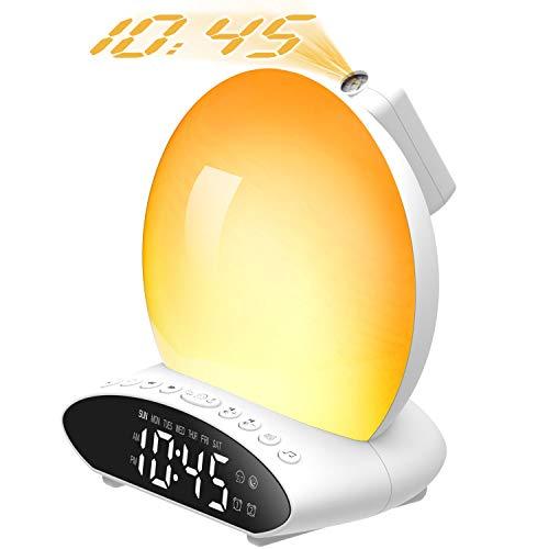 Wake up Light, Fuloon Luce Sveglia Digitale da Comodino con Simulazione dell'Alba e Tramonto,Sveglia Proiettore con Radio FM, Funzione Snooze,2 Allarme,7 Colori Dimmerabili