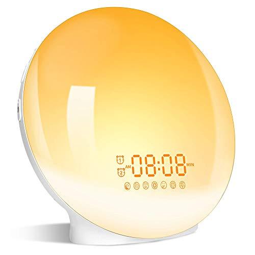 Wake up Light, Luce Sveglia da Comodino con Simulazione dell'Alba e Tramonto, Luce Notturna LED con FM Radio Funzione snooze, Luce Sveglia Digitale per Regalo 20 Livelli di Luminosità e 7 Colori
