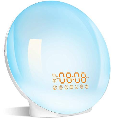 Wake up Light, Sveglia Digitale da Comodino con Simulazione dell'Alba e Tramonto, Radiosveglia LED con FM Radio Funzione snooze, Luce Sveglia per Regalo 20 Livelli di Luminosità e 7 Colori (upgrade)