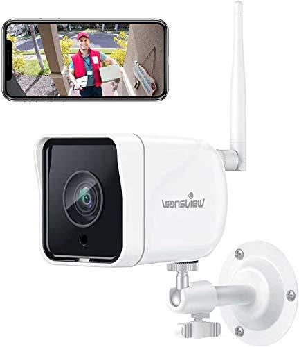 Wansview Telecamera Sorveglianza WiFi Esterno, 1080P Telecamera IP WiFi IP66, Telecamera di Sicurezza con Rilevamento di Movimento, Audio Bidirezionale, ONVIF e RTSP, Funziona con Alexa W6 Bianco