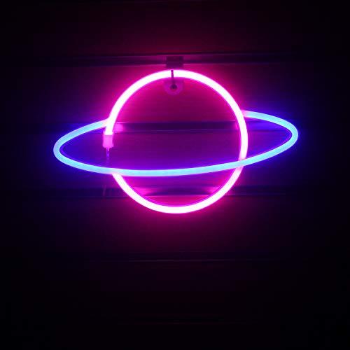 Wanxing Pianeta Neon Luce Rosa Blu Notte Luce Arte Lampada Da Parete Decorazione Camera Da Letto Festa Regalo Bambini