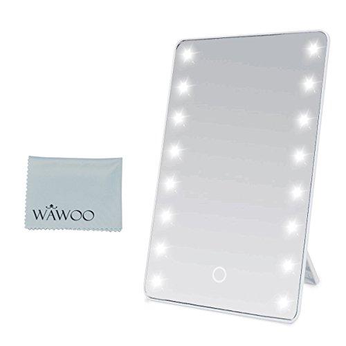 Wawoo Specchio per il trucco con illuminazione a LED Dimmerabile con Touch Screen + 16 LEDs + Ultra alta Definizione pieghevole Professionale Make up Specchio da tavolo Alimentato a batteria Bianco