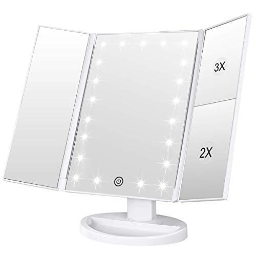 WEILY Specchio di Vanity Trifold dello Specchio di Trucco Illuminato con l'ingrandimento di 1X/2X/3X, Le Notti Naturali del LED, Lo Schermo di Tocco, Lo Specchio caricabile (Bianco)