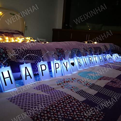 WEIXINHAI LED Letter Light Box String Luci Di Natale 78.7in 20LED Bagliore Nel Buio Fai Da Te Lettera Combinazione Segno, Buon Compleanno Banner Festa Di Decorazione Lanterna Battery Powered Stringa