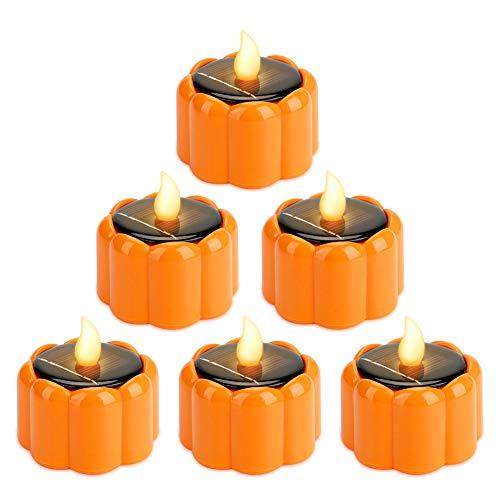 Welltop Candele LED solare in 6 pezzi, Zucca solare a Led Candele tremolanti senza fiamma Ambra Calde luci a candela impermeabili per Halloween Garden Festival Yard Festival, bianco caldo