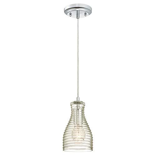 Westinghouse 6329240 Lampada a Sospensione per Interni Monoluce, Cromato, vetro
