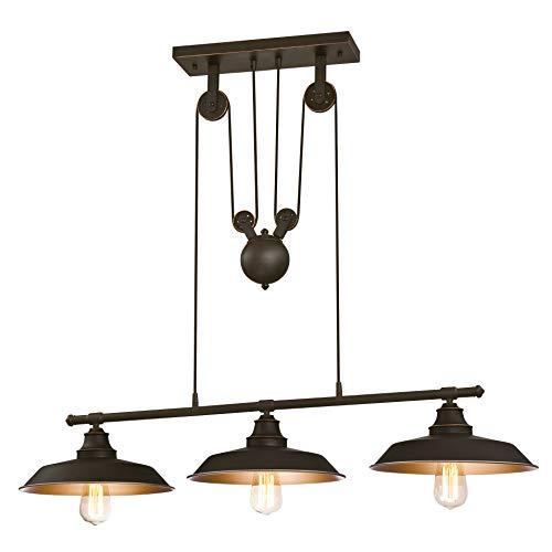 Westinghouse 6332540 Lampada a Sospensione per Interni a 3 Luci Island Pulley, Bronzata ad Olio
