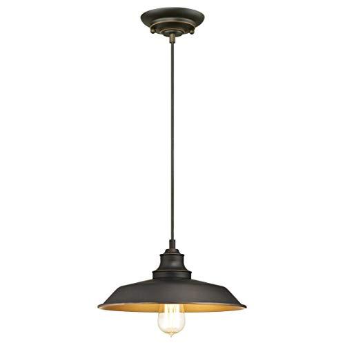Westinghouse 6344740 Lampada a Sospensione per Interni Monoluce, Bronzata ad Olio, vetro