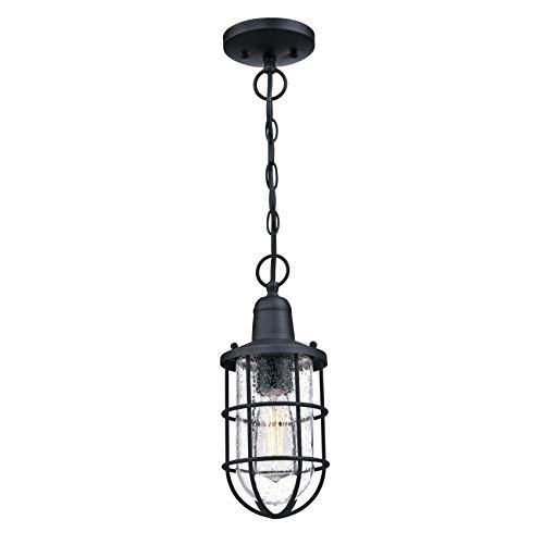Westinghouse Lighting 6334840 – Lampada a sospensione da esterno Crestview a una luce, finitura nera ruvida con vetro a bolle trasparente