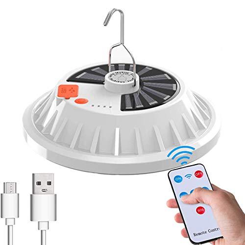 WholeFire Lampadina da Lavoro Sospensione, Lampada da Campeggio Solare USB Ricaricabile con Telecomando, Lampada da Esterno IPX7 Impermeabile Luce Esterna Portatile da Campeggio/Giardino/Barbecue