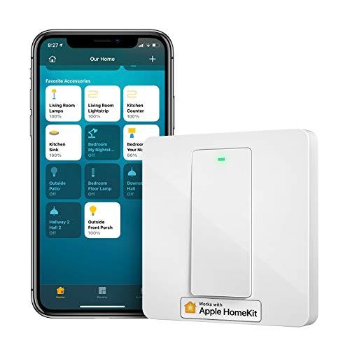 WiFi Intelligente Interruttore Parete Smart Switch 1Way 1 Gang, a pulsante fisico, Funzione Timer, APP Controllo Remoto, Compatibile con Homekit Siri, SmartThings, Alexa, Google Home e IFTTT