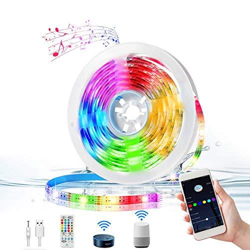 WiFi Strisce LED 3M, KNMY Musicale Retroilluminazione LED TV, Compatibile con Alexa e Google Home, con APP Remote, Sincronizzazione con Musica, IP65 Impermeabile, per TV, Stanza da Letto, Feste