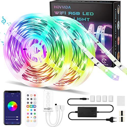WiFi Striscia LED 20M RGB Musicale, Compatibile con Alexa Google Assistant HOVVIDA Strisce LED 5050 12V Musica, Controllato da APP, Telecomando IR e Controller, 16 Milioni di Colori, Temporizzazione