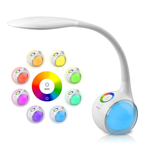 WILIT T3 Lampada da Tavolo LED Regolabile con 256 Luci Multicolore RGB e 34 LEDs, 3 Livelli Dimmerabili, Lampada da Scrivania per Bambini con a collo d'oca, Controllo Tattile, 5W, Bianca