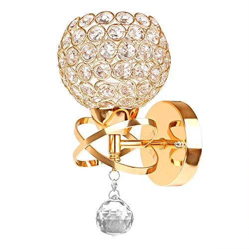 Winbang Lampada da Parete Stile Moderno, Supporto per Applique da Parete in Cristallo E14 Socket Camera da Letto Soggiorno Lampada da Parete Decor (Senza Lampadina Inclusa) (Oro)