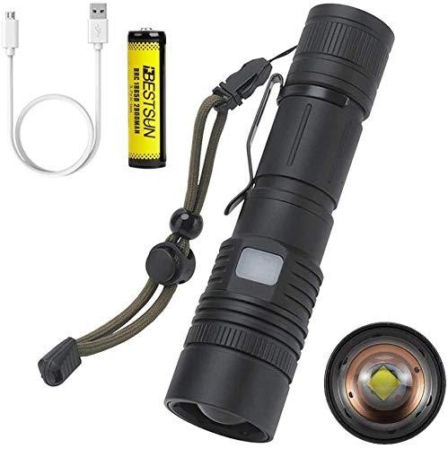 Windfire Torcia LED Ricaricabile, Torcia Alta Potenza Professionale Con 6000 LM, Zoom 5 Modalità di illuminazione Funzione Power Bank Flashlight [Classe di efficienza energetica A]