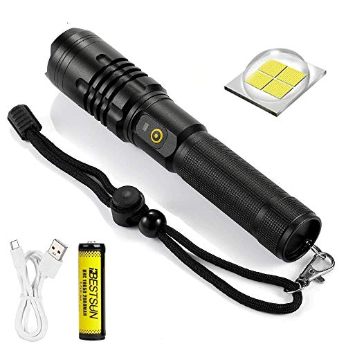 Windfire Torcia LED USB Ricaricabile, Alta Potente 6000 lumen LED Flashlight con 5 Modalità di illuminazione Zoom Impermeabile Funzione Power Bank per Campeggio Pesca (Batteria Inclusa)