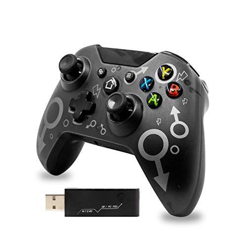 Wireless Controller per Xbox One 2.4G Controller Bluetooth senza Fili per Xbox One/Xbox Series X/PS3/PC Design Ergonomico Joystick per PC Doppia Vibrazione(Nero)