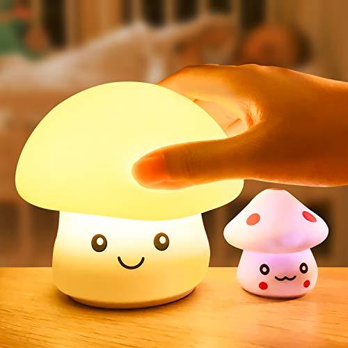 WOANWAY Luce Notturna Bambini,Luci Fungo LED Colorate di Silicone,Lampada Ricaricabile USB e Luce Controllo Sensibile Luce Decorazioni per Camerette Letto Bambini(Fungo Bambino Luce Come Regalo)