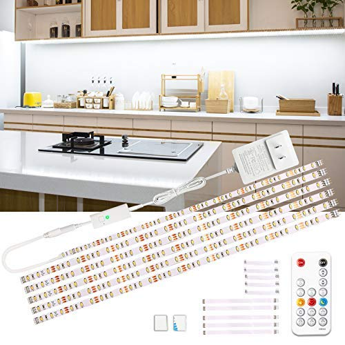 Wobsion Luci led cucina sottopensile, Striscia led 3M bianco freddo,led per cucina sottopensile,striscia led adesiva, striscia LED 6X50cm dimmerabile, striscia LED 6000K lampada da cucina 1500 lm…