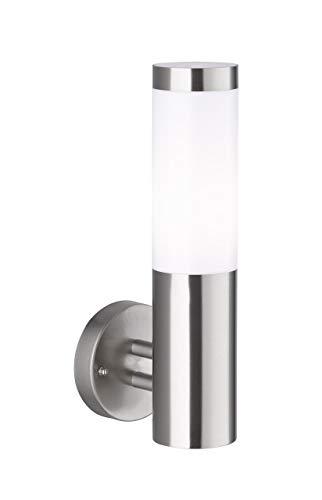 WOFI 4023.01.97.7000 - Lampada da parete per esterni, in acciaio, 60 W, E27, acciaio INOX spazzolato, 14 x 11 x 33,5 cm