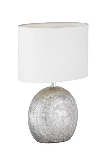 WOFI Lampada da Tavolo E14, 40 W, Argento, 24 x 17 x 37 cm, con interruttore, ceramica;tessuto