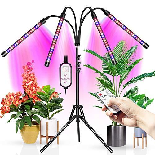 WOLEZEK Lampada per Piante con Treppiede, Lampade da Coltivazione indoor Spettro Completo,Treppiede Regolabile 28-160CM, temporizzazione 4/8/12H(RF Controller)