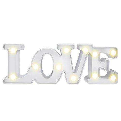 WolinTek Romantico LOVE Lampada Notturna Lampada decorazione luci LED con luce calda,Scritta luminosa LOVE,Insegna vintage retro con lettere per Casa Ufficio interni Decorazione