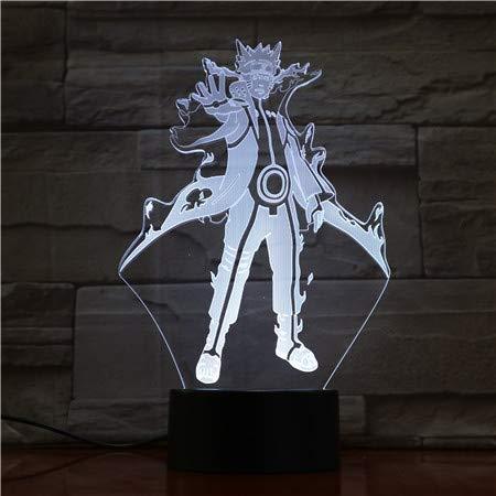 WoloShop Naruto Uzumaki - Lampada LED con modalità Bijuu cambia colore USB, luce notturna
