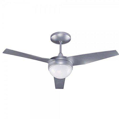 Wonderlamp Classic ventilatore da soffitto con luce E27, 13 W, grigio/bianco, 107 x 107 x 34.2 cm, ca/cc, metallo