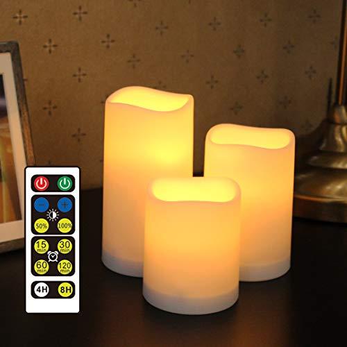 WRalwaysLX Candele senza fiamma con timer, LED tremolanti con telecomando, candele a batteria per interni ed esterni, 3 candele, alimentate da 3 batterie AAA (non incluse)
