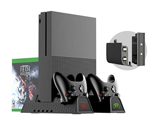 Xbox One Supporto Verticale e Ventola di Raffreddamento - PeakLead stazione di ricarica Caricabatteria, 2x Batteria Ricaricabile di controller, 12x giochi Storage e USB Hub per Xbox One, One S, One X