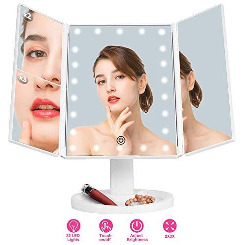 Xnuoyo Specchio cosmetico con 22 LED 3 Specchio per Il Trucco Laterale, Specchio Ingranditore 1X / 2X / 3X Tavolo Ruotabile di 180 °, Specchio per Il Trucco Ricaricabile per la Bellezza Domestica
