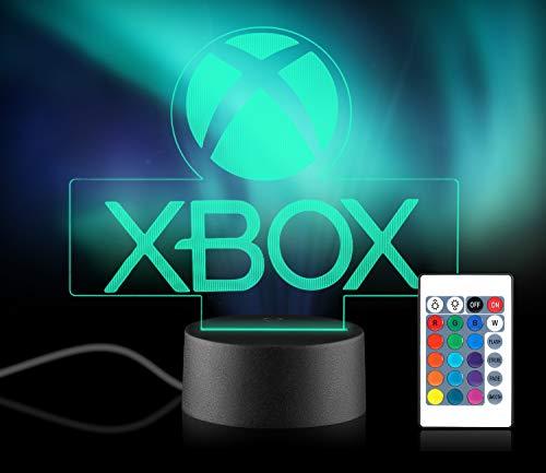 Xpassion Game Lovers 3D Lampada Notturna, Lampada da tavolo a LED da tavolo, illuminazione di ricarica USB a 16 colori Decorazione camera da letto per bambini Regalo di Halloween di Natale